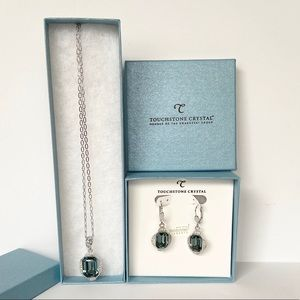 Touchstone crystal necklace and earrings